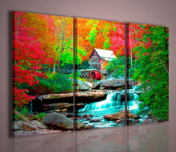Quadri moderni quadri di natura e paesaggi house in forest for Stampe su tela moderne
